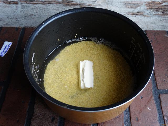 Пшенная каша на воде в мультиварке рецепт с фото 5-го шага