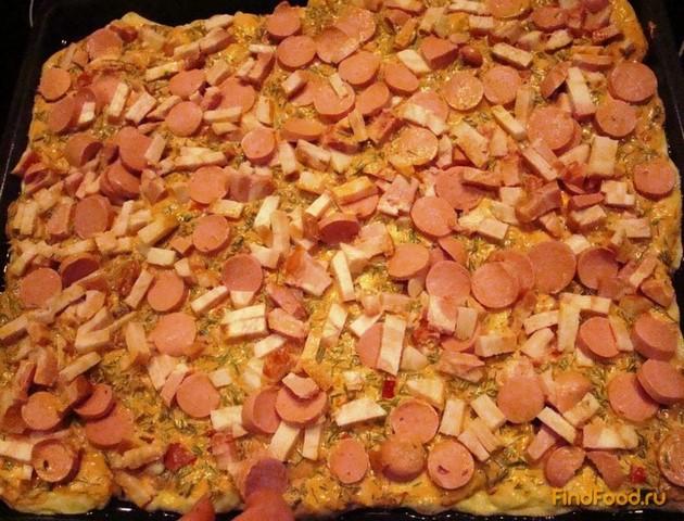 Домашняя пицца с колбасой рецепт с фото 15-го шага