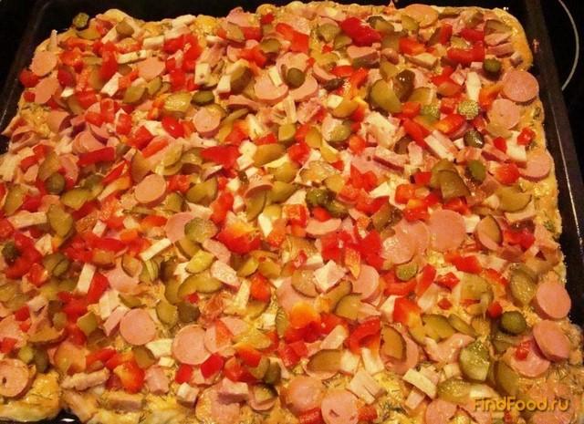 Домашняя пицца с колбасой рецепт с фото 16-го шага