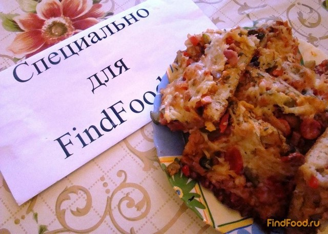 Домашняя пицца с колбасой рецепт с фото 19-го шага