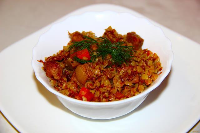 Гречка по - купечески с мясом и грибами рецепт с фото 10-го шага