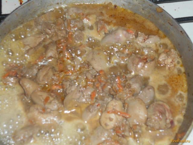Куриная печень с майонезом рецепт с фото 6-го шага