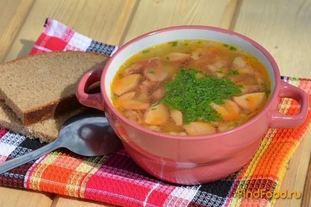 Рецепт Гороховый суп с сосисками и полукопченой колбасой рецепт с фото