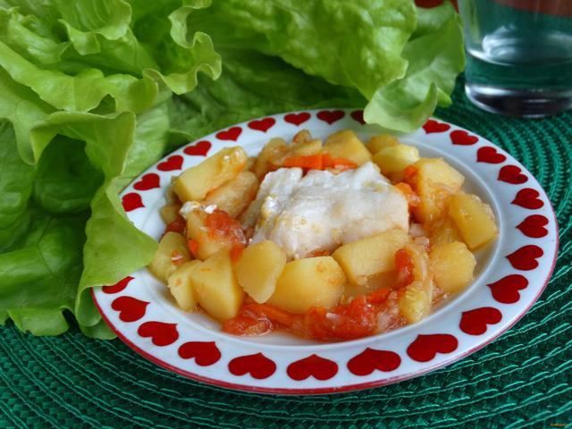 Рецепт Треска тушеная с овощами в мультиварке рецепт с фото