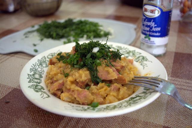 Рецепт Чечевица с колбасой рецепт с фото