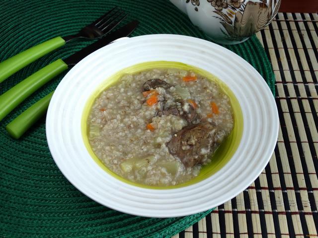 Рецепт Ячневая каша с кабачками и печенью рецепт с фото