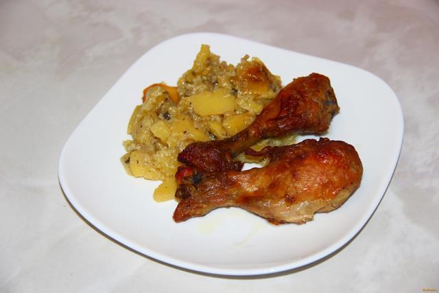 Куриные голени с картофелем в мультиварке рецепт с фото 9-го шага