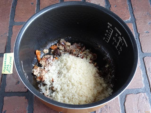 Рисовая каша с тушенкой в мультиварке редмонд