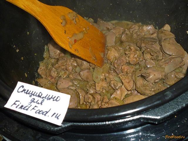 Рис с куриной печенью в мультиварке рецепт с фото 12-го шага