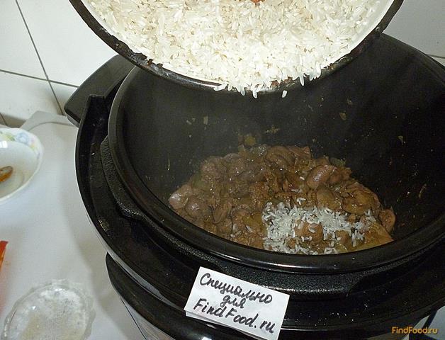 Рис с куриной печенью в мультиварке рецепт с фото 14-го шага