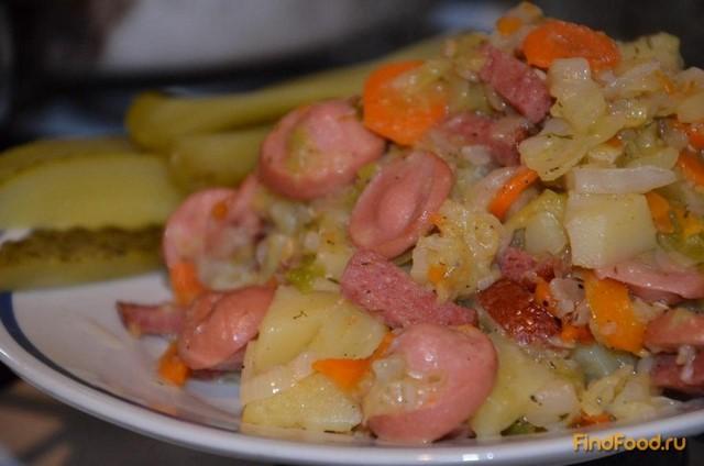 капуста тушеная в мультиварке с сосиской и картошкой