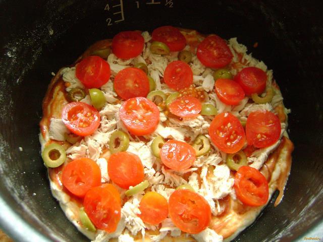 пицца в мультиварке рецепт с фото с курицей