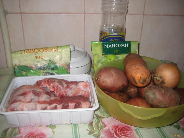 Рецепт Картофельный суп со свиными ребрышками и майораном рецепт с фото