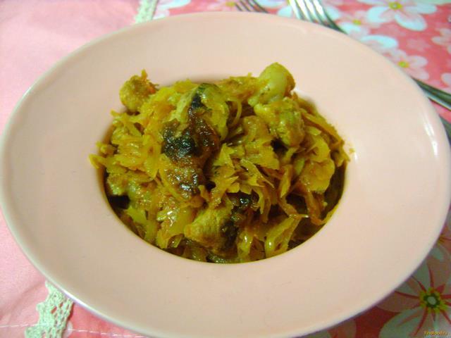 Рецепт Тушеная капуста со свининой рецепт с фото