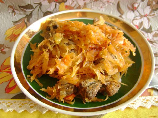 Рецепт Тушеная капуста с печенью рецепт с фото