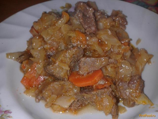 Рецепт Тушеная капуста со свининой и грибами рецепт с фото