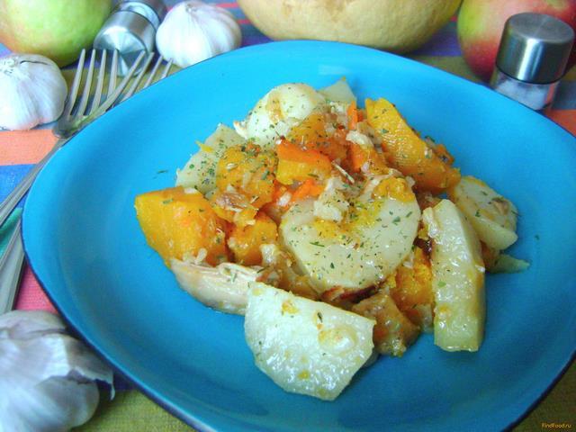 Рецепт Картофель с домашней тушенкой и тыквой рецепт с фото