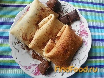Рецепт Блины с бананами и шоколадом рецепт с фото