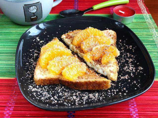 Рецепт Гренки с мандаринами и шоколадом рецепт с фото