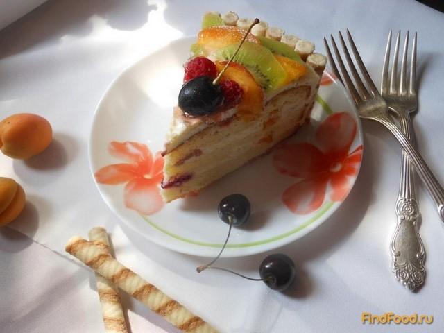 Рецепт Бисквитно - творожный торт с фруктами рецепт с фото