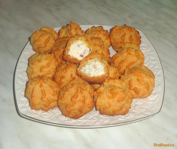 Рецепт Профитроли с творожно-ореховым кремом рецепт с фото