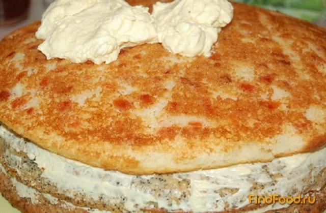 Трехслойный тортик рецепт с фото 9-го шага