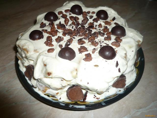 Рецепт Тортик без выпечки с фруктами и сметанным кремом рецепт с фото