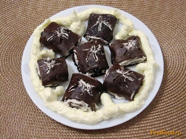 Рецепт Шоколадные блины с кремом рецепт с фото