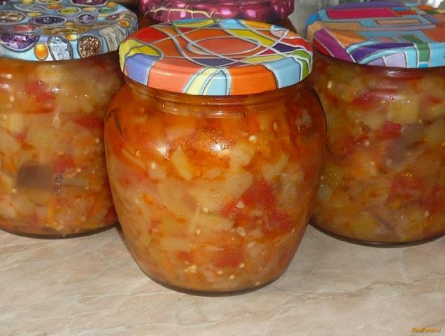 Соте из баклажанов и кабачков рецепт с фото на зиму без уксуса