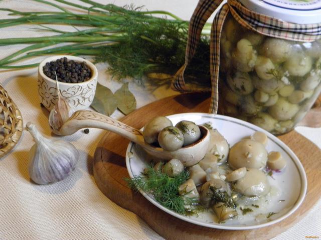 Рецепт Маринованные шампиньоны с чесноком рецепт с фото