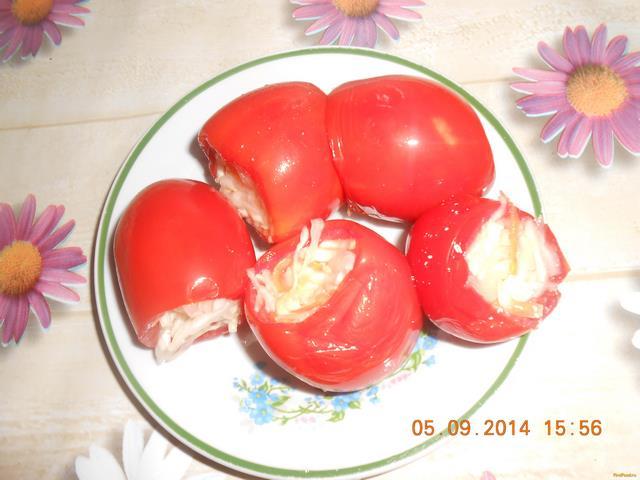 Рецепт Соленые помидоры фаршированные капустой рецепт с фото