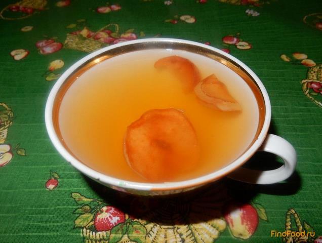 Рецепт Компот из сушеных яблок с курагой и абрикосовым вареньем рецепт с фото