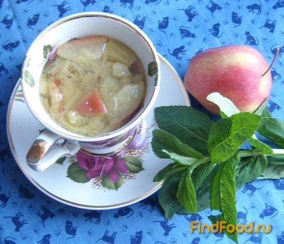 Рецепт Компот из ревеня с яблоками и мятой рецепт с фото