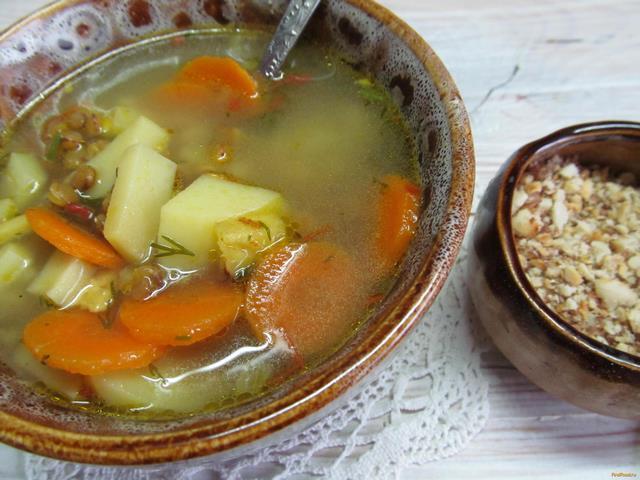 Рецепт Суп с чечевицей на курином бульоне рецепт с фото