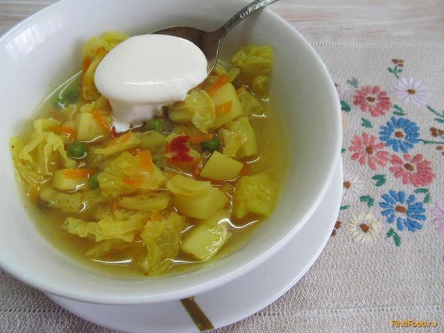 Рецепт Суп с савойской капустой и зеленым горохом рецепт с фото