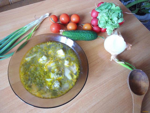 Рецепт Зеленый борщ с клецками рецепт с фото