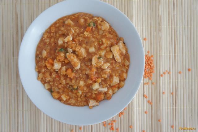 Рецепт Густая похлебка с куриным филе и чечевицей рецепт с фото