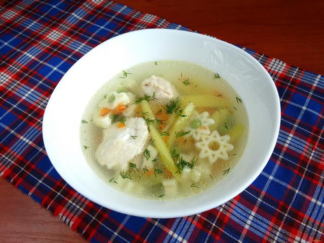 Рецепт Суп с макаронами и зеленым горошком рецепт с фото
