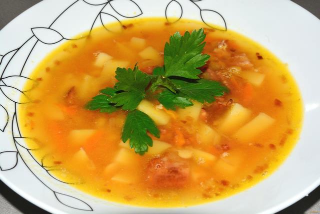 Рецепт Гороховый суп на копченых ребрышках рецепт с фото