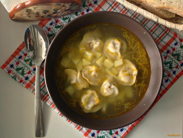 Рецепт Суп с домашними пельменями рецепт с фото