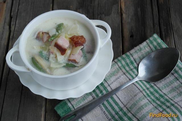Рецепт Картофельный суп с беконом и спаржевой фасолью рецепт с фото