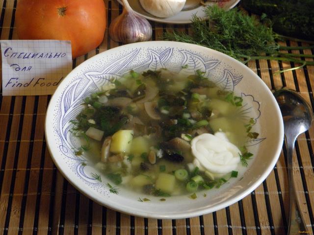 Рецепт Грибной суп со щавелем рецепт с фото