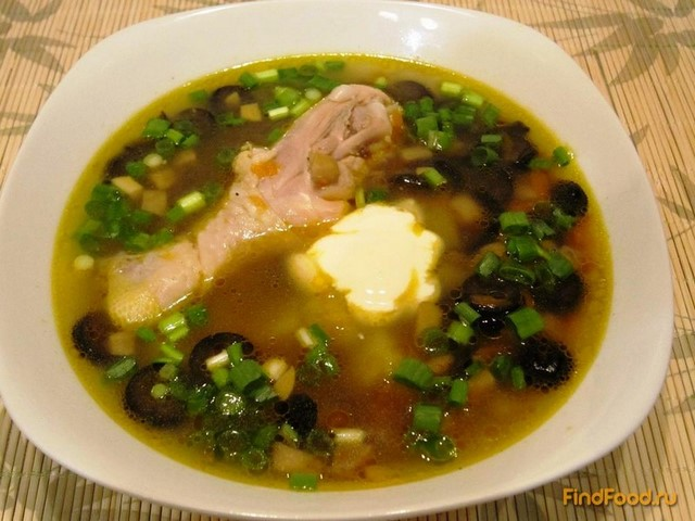 Рецепт Грибной суп с маслинами рецепт с фото