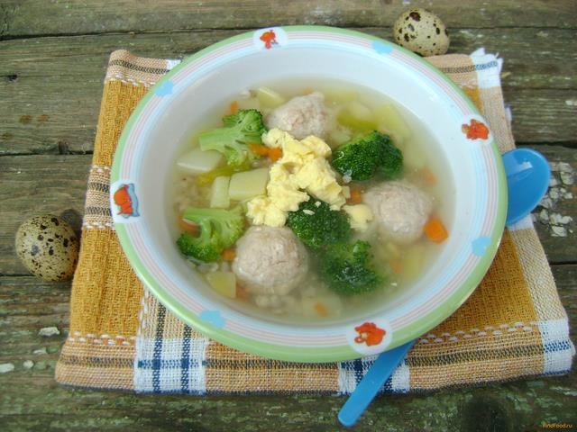 Рецепт Детский суп с фрикадельками и брокколи рецепт с фото