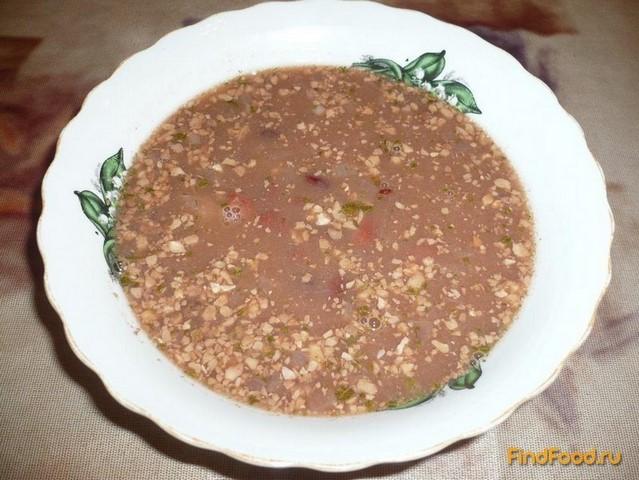 Рецепт Постный фасолевый суп с грецкими орехами рецепт с фото