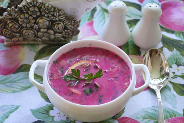 Рецепт Холодный свекольный суп с курицей рецепт с фото