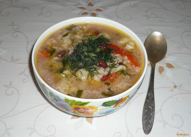 Рецепт Овощной суп с красной фасолью рецепт с фото