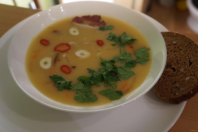 Рецепт Гороховый суп пюре с копченой грудинкой рецепт с фото