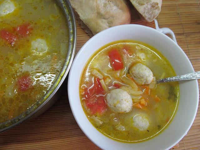 Рецепт овощной суп с фрикадельками из куриного фарша рецепт с фото