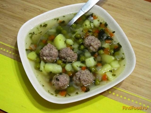 Рецепт Суп с зеленым горошком и фрикадельками рецепт с фото